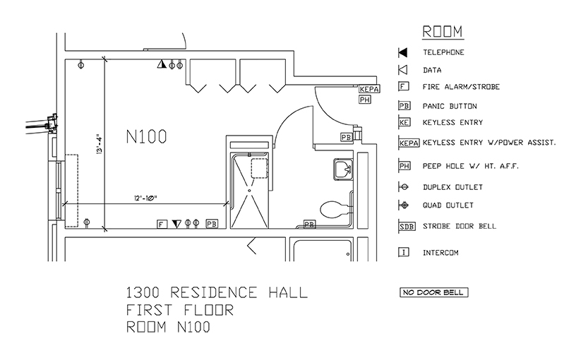 Accessible Room Diagrams: 1st Floor Room N100
