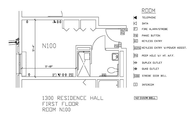 Accessible Room Diagrams: 1st Floor Room N100