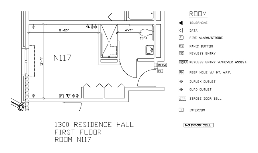 Accessible Room Diagrams: 1st Floor Room N117
