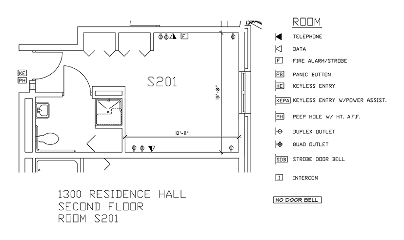 Accessible Room Diagrams: 2nd Floor Room S201