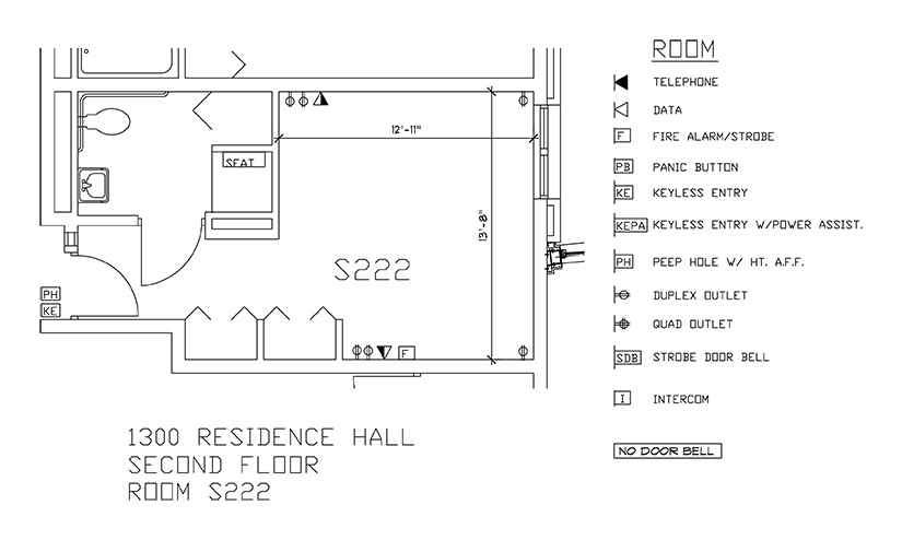 Accessible Room Diagrams: 2nd Floor Room S222