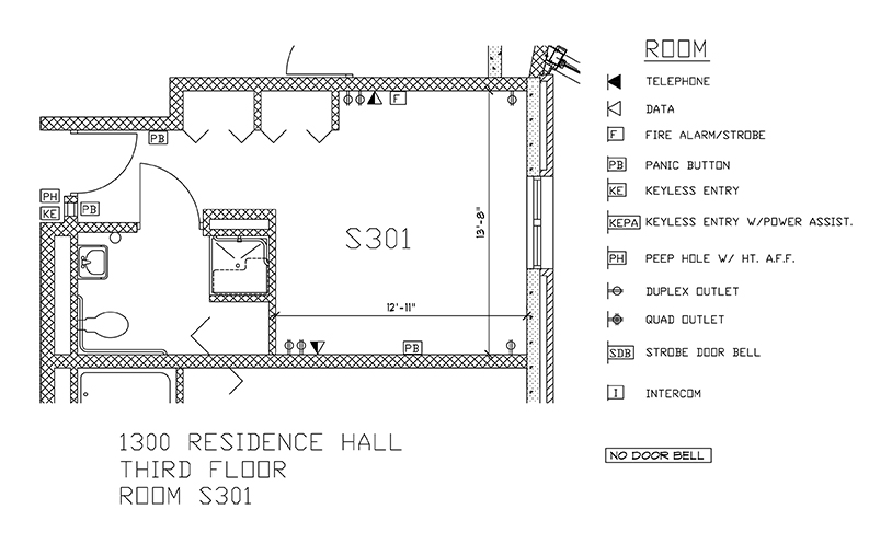 Accessible Room Diagrams: 3rd Floor Room S301