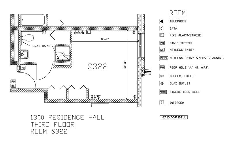 Accessible Room Diagrams: 3rd Floor Room S322