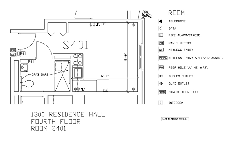 Accessible Room Diagrams: 4th Floor Room S401