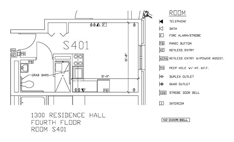 Accessible Room Diagrams: 4th Floor Room S401