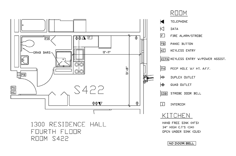 Accessible Room Diagrams: 4th Floor Room S422