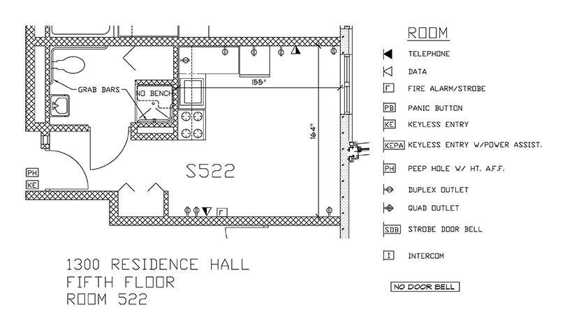Accessible Room Diagrams: 5th Floor Room S522