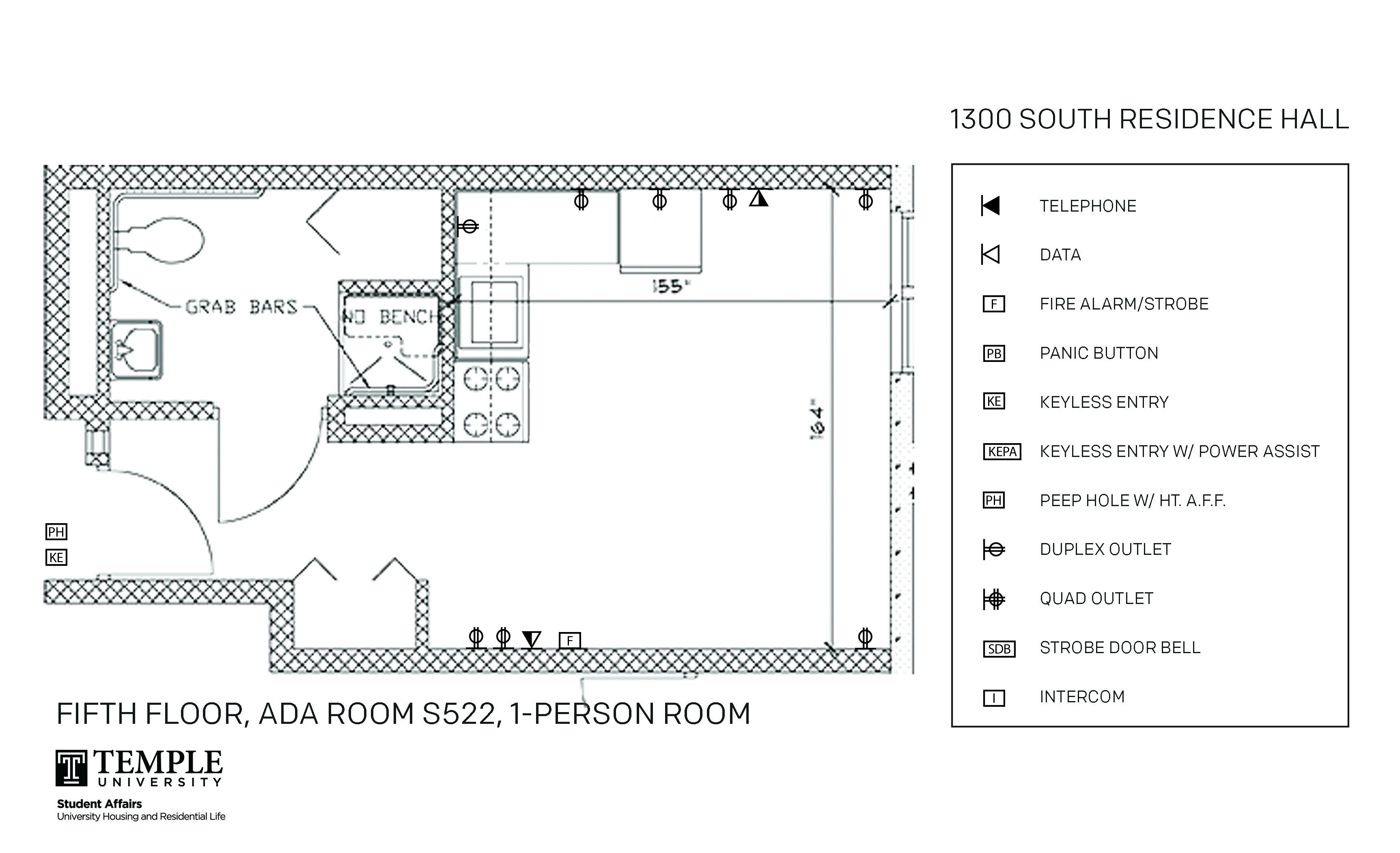 Accessible Room Diagrams: 5th Floor Room S522