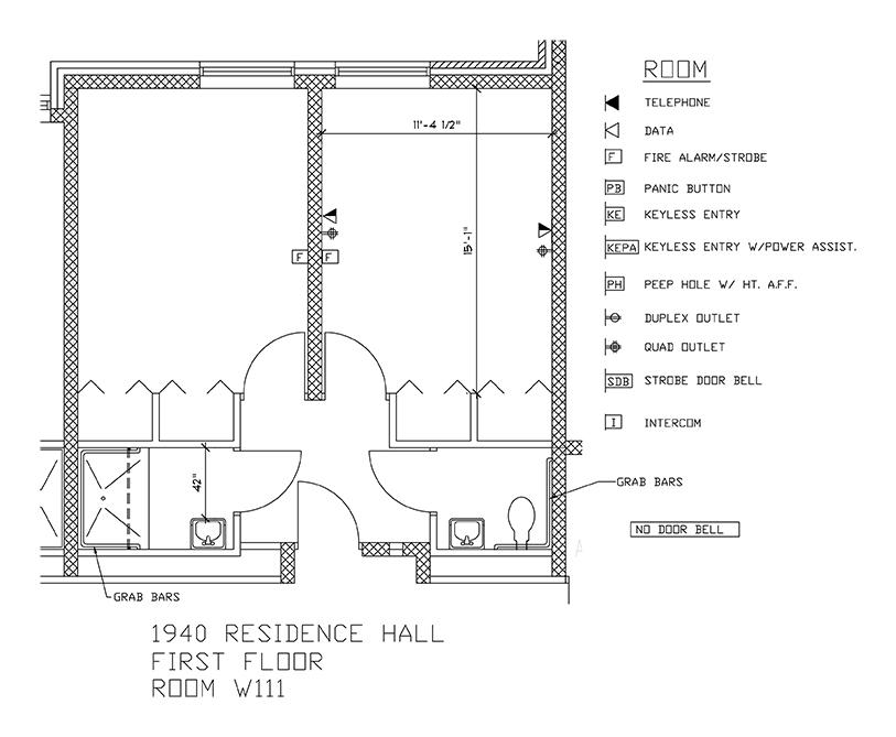 Accessible Room Diagrams: 1st Floor Room W111