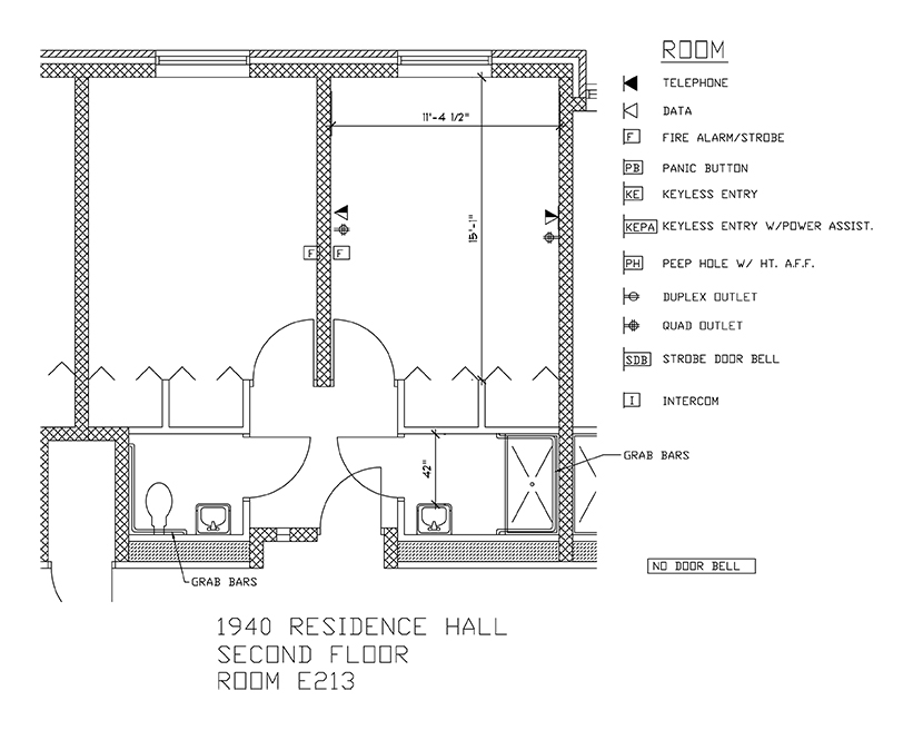 Accessible Room Diagrams: 2nd Floor Room E213
