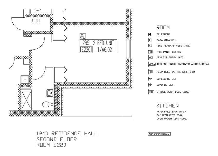 Accessible Room Diagrams: 2nd Floor Room E220