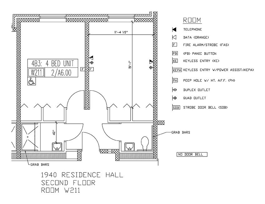 Accessible Room Diagrams: 2nd Floor Room W211