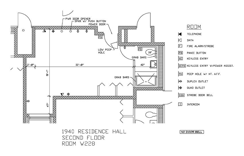Accessible Room Diagrams: 2nd Floor Room W228