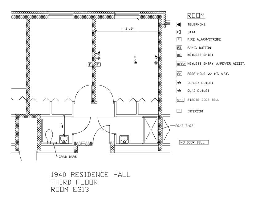 Accessible Room Diagrams: 3rd Floor Room E313