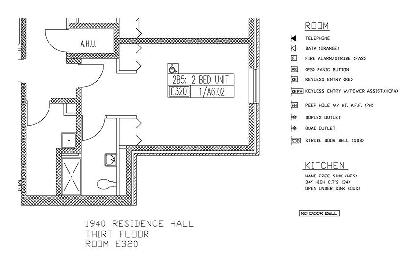 Accessible Room Diagrams: 3rd Floor Room E320