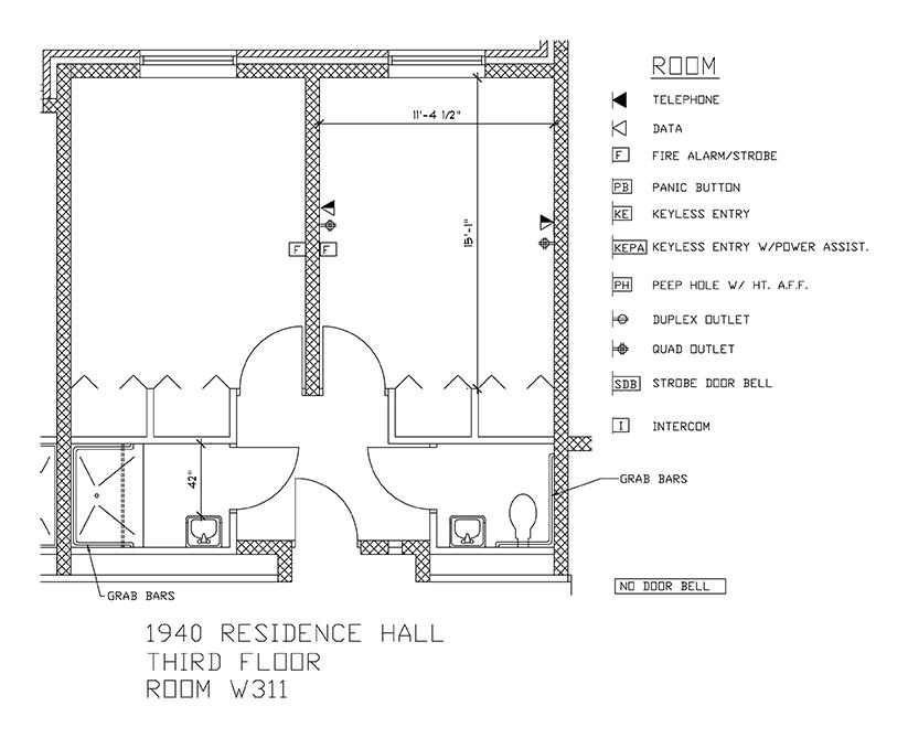 Accessible Room Diagrams: 3rd Floor Room W311