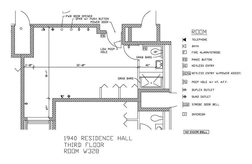 Accessible Room Diagrams: 3rd Floor Room W328