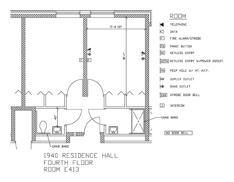 Accessible Room Diagrams: 4th Floor Room E413