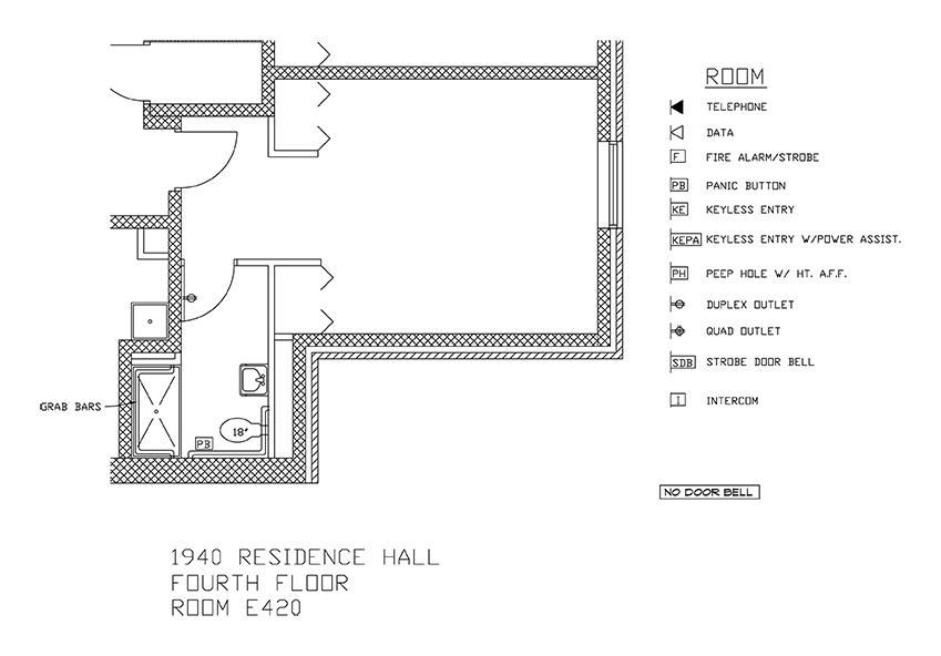 Accessible Room Diagrams: 4th Floor Room E420
