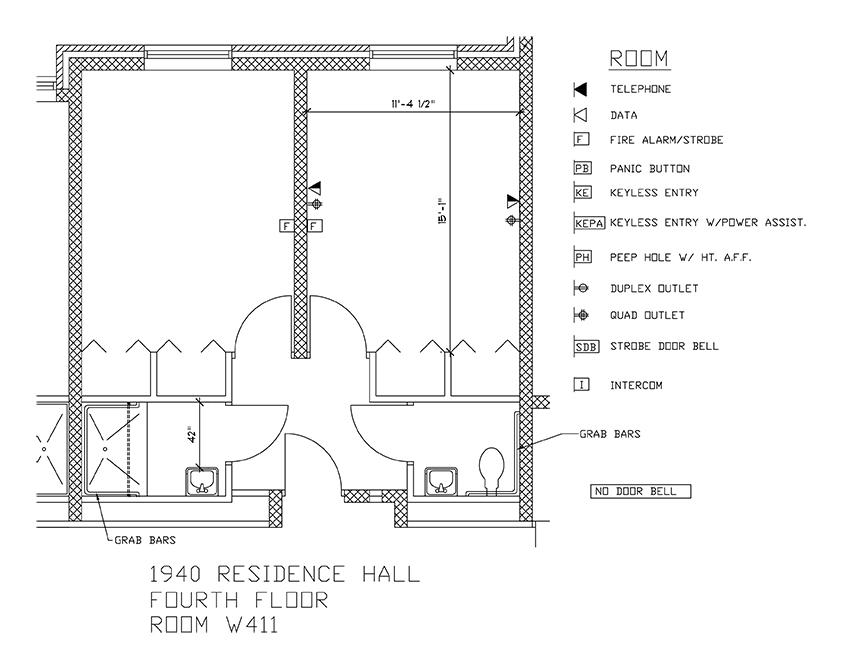 Accessible Room Diagrams: 4th Floor Room W411