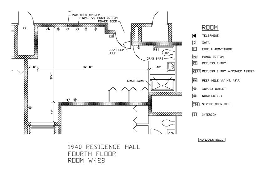 Accessible Room Diagrams: 4th Floor Room W428