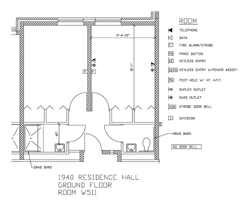 Accessible Room Diagrams: 5th Floor Room W511