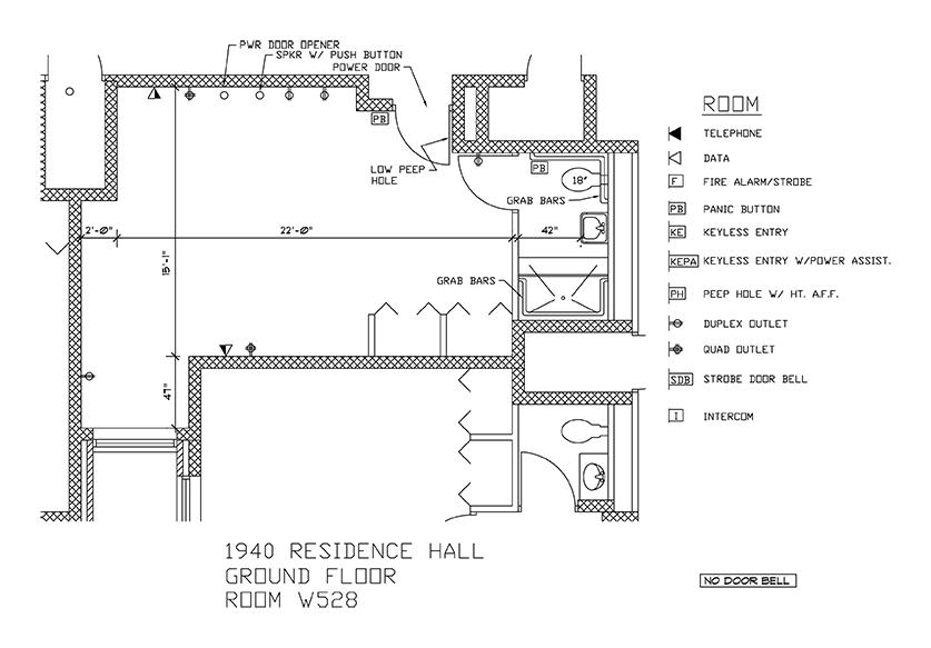 Accessible Room Diagrams: 5th Floor Room W528