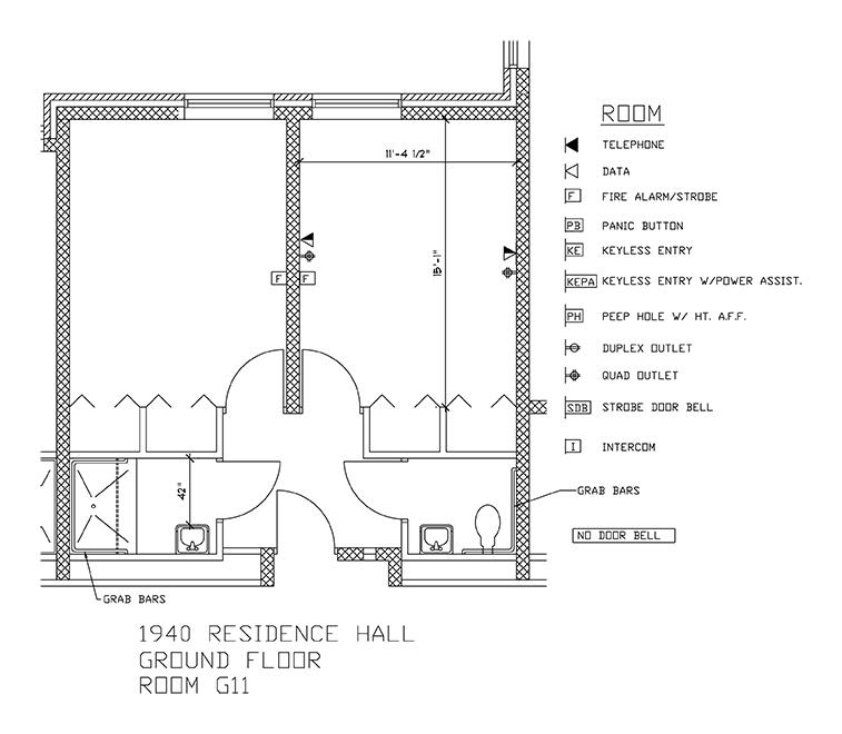 Accessible Room Diagrams: Ground Floor Room G11