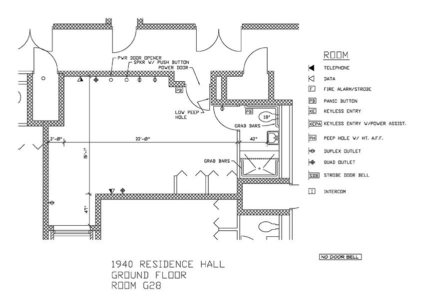 Accessible Room Diagrams: Ground Floor Room G28