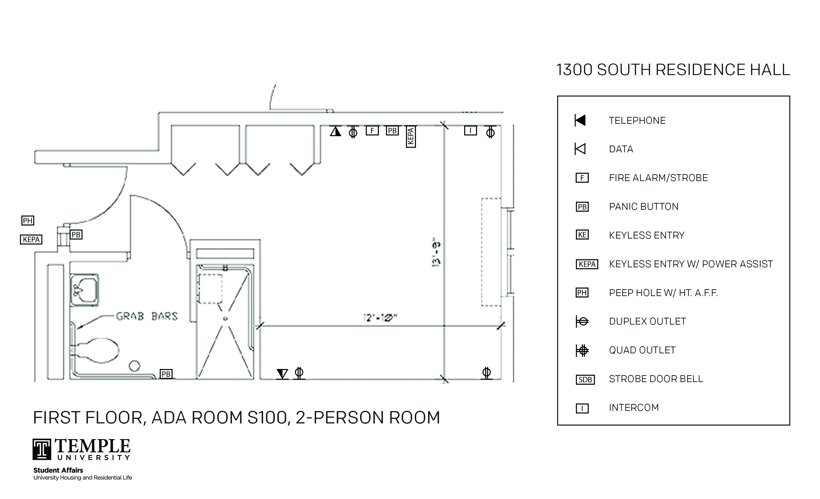 Accessible Room Diagrams: 1st Floor Room S100