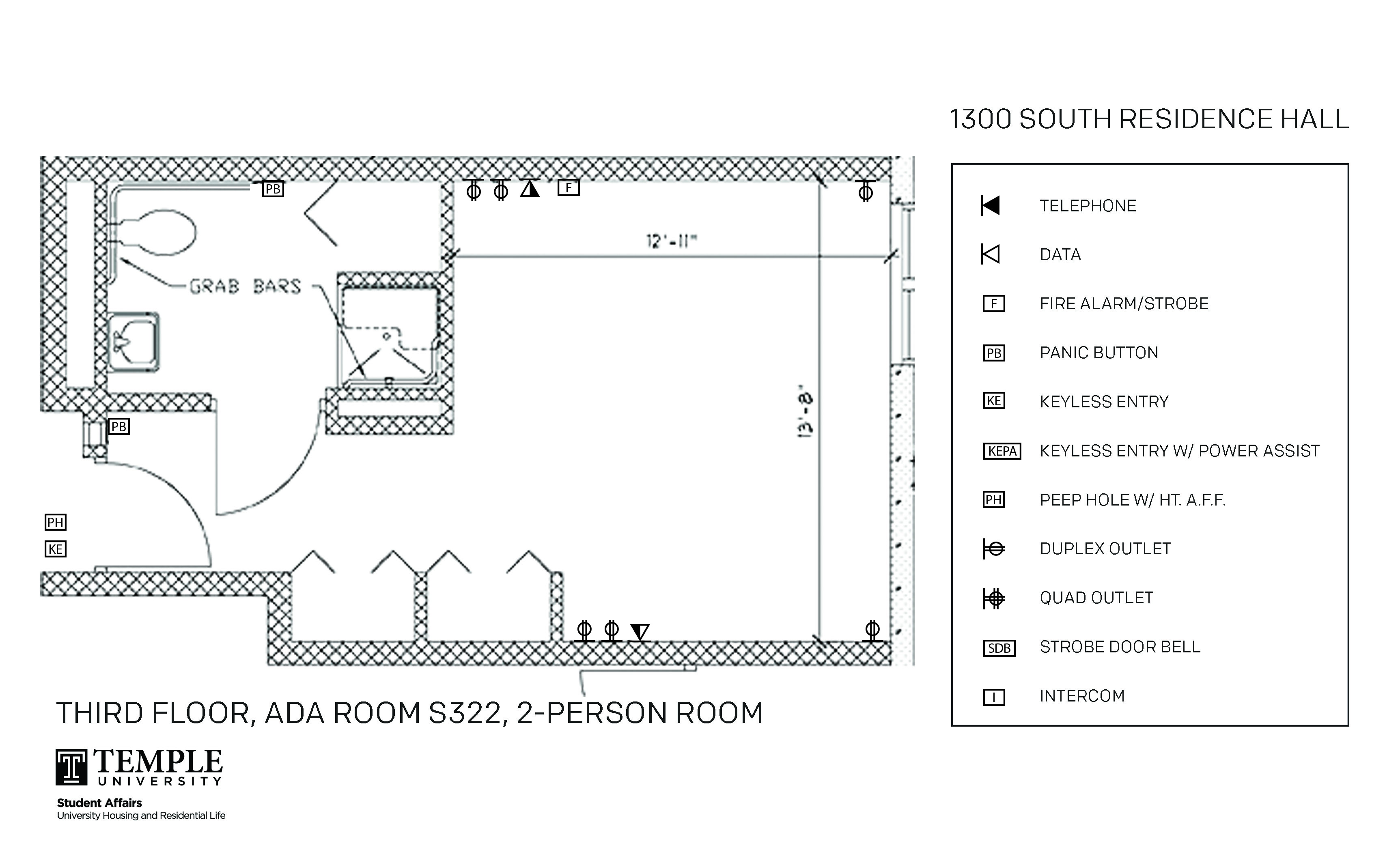 Accessible Room Diagrams: 3rd Floor Room S322