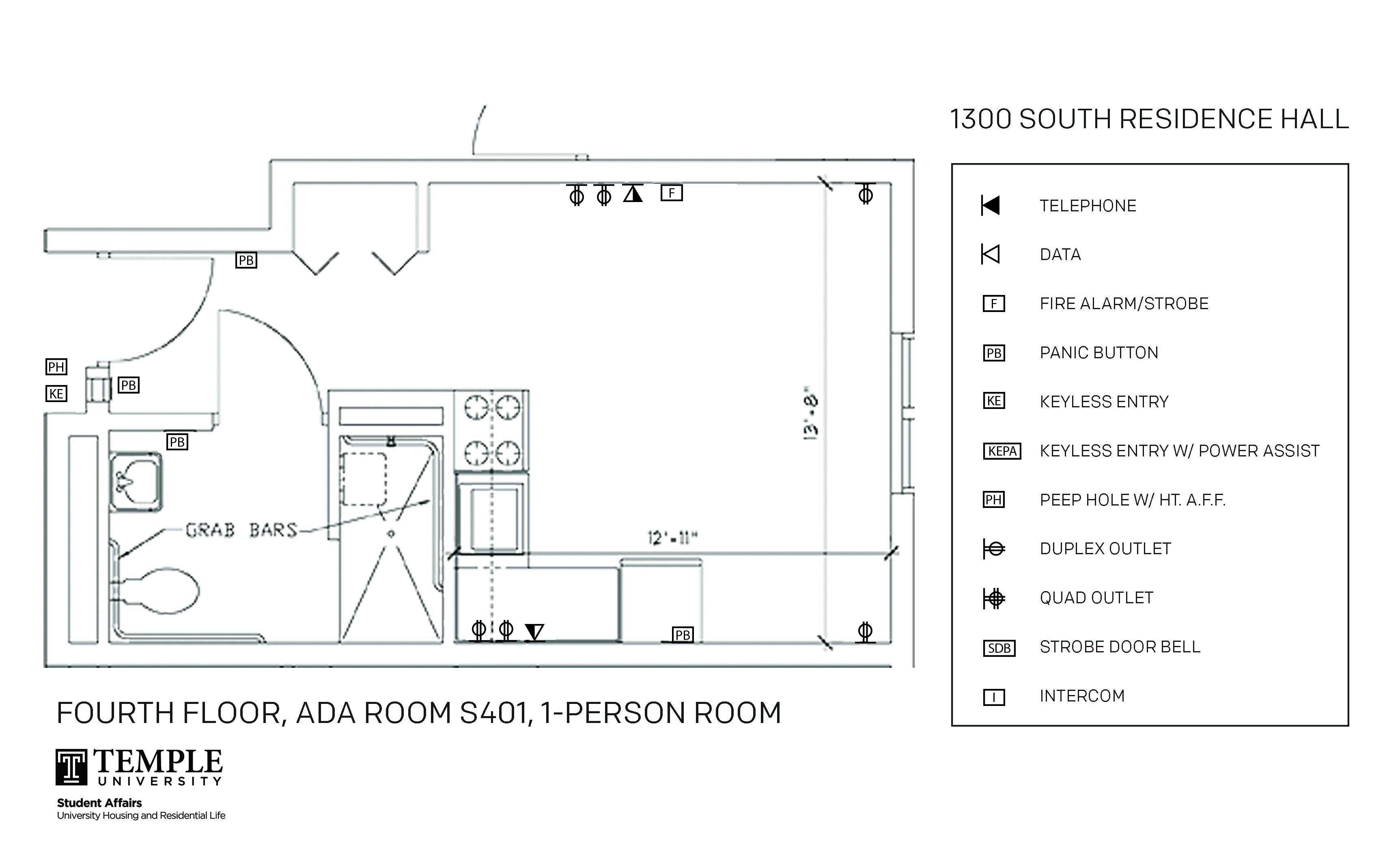 Accessible Room Diagrams 4th Floor S401