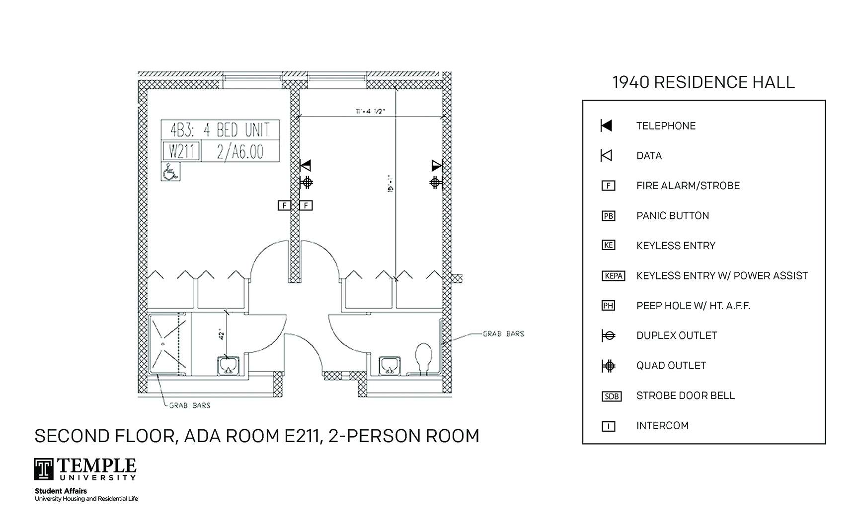 Accessible Room Diagrams: 4 person, 2 bedroom Suite - E211
