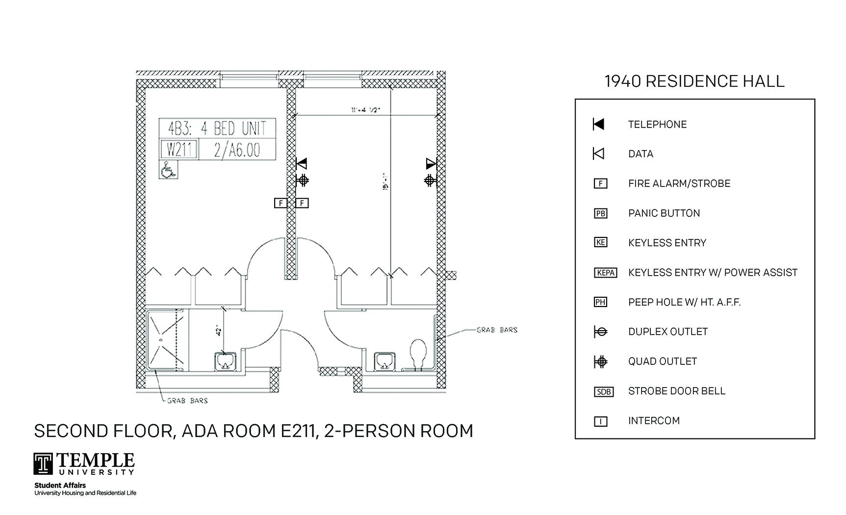 Accessible Room Diagrams: 4 person, 2 bedroom Suite - E211