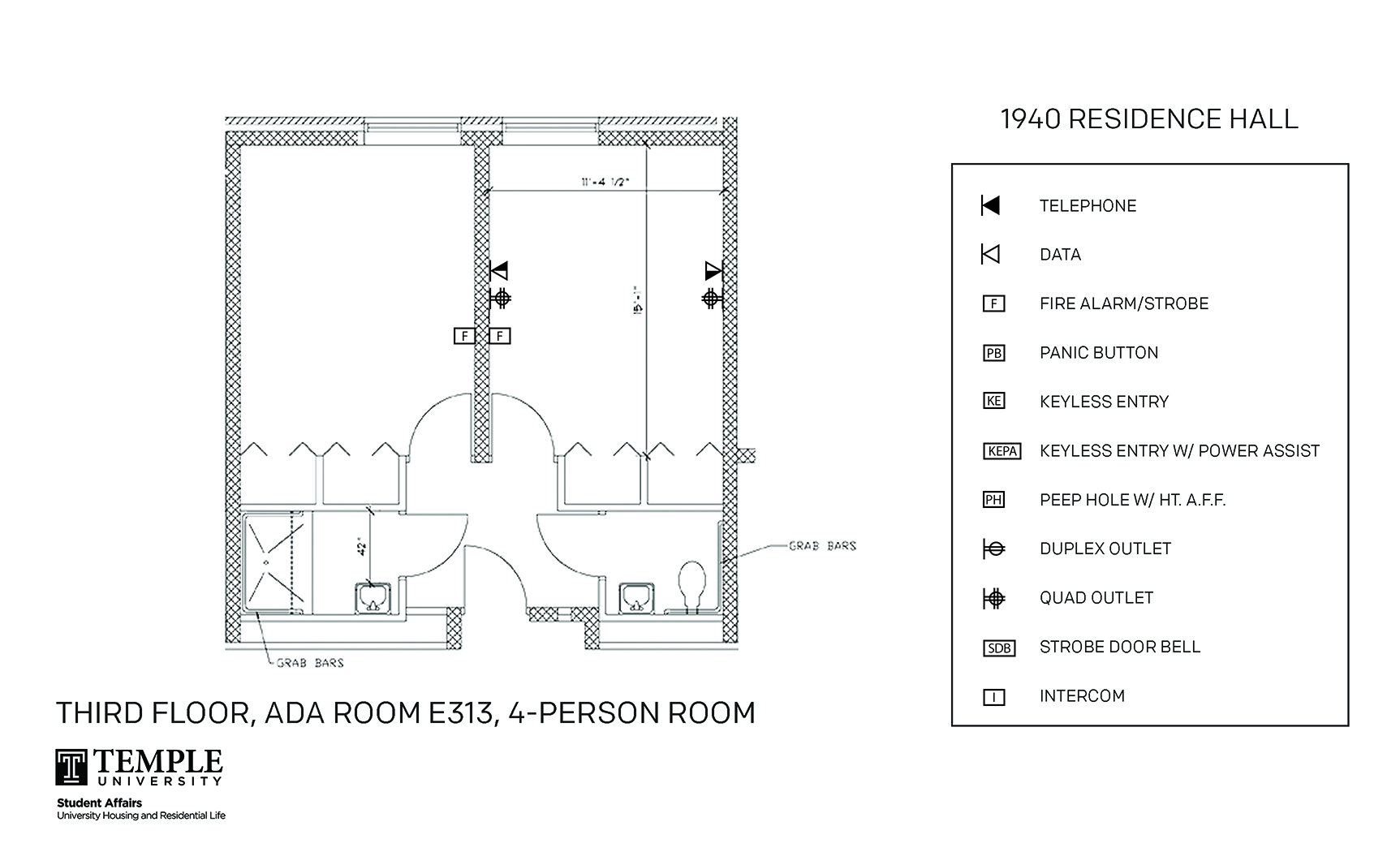 Accessible Room Diagrams: 4 person, 2 bedroom Suite - E313