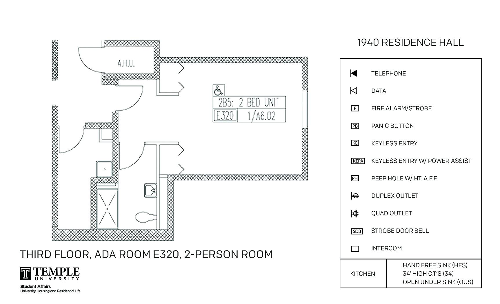 Accessible Room Diagrams: 2 person, 1 bedroom Suite - E320