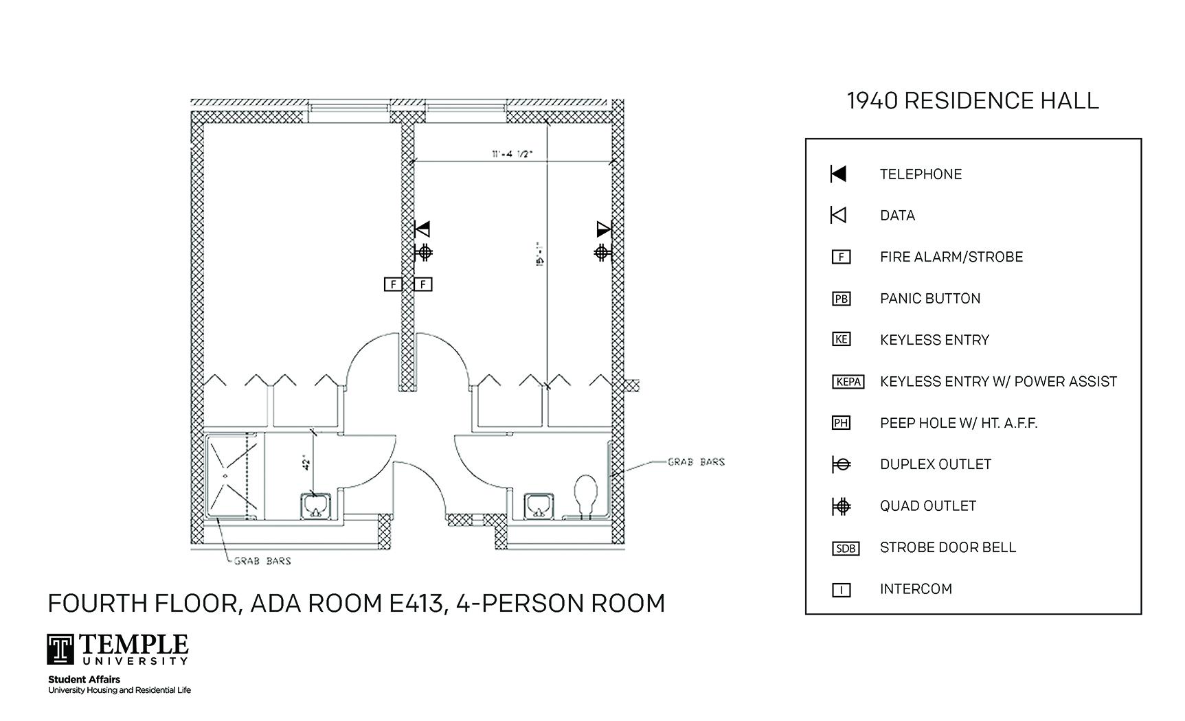 Accessible Room Diagrams: 4 person, 2 bedroom Suite - E413