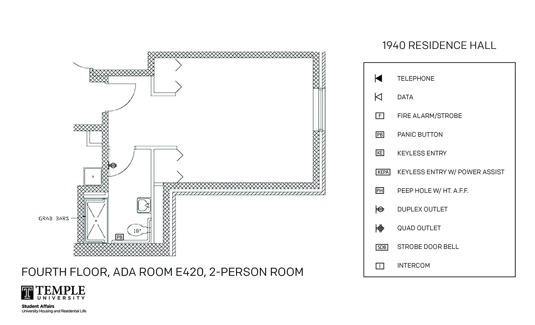 Accessible Room Diagrams: 2 person, 1 bedroom Suite - E420