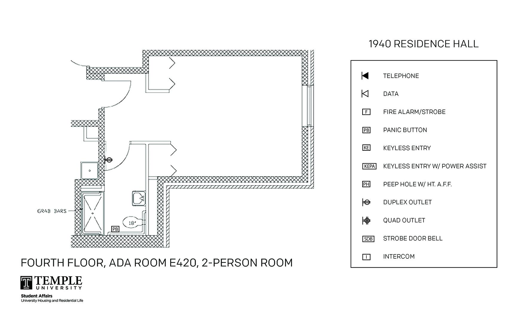 Accessible Room Diagrams: 2 person, 1 bedroom Suite - E420