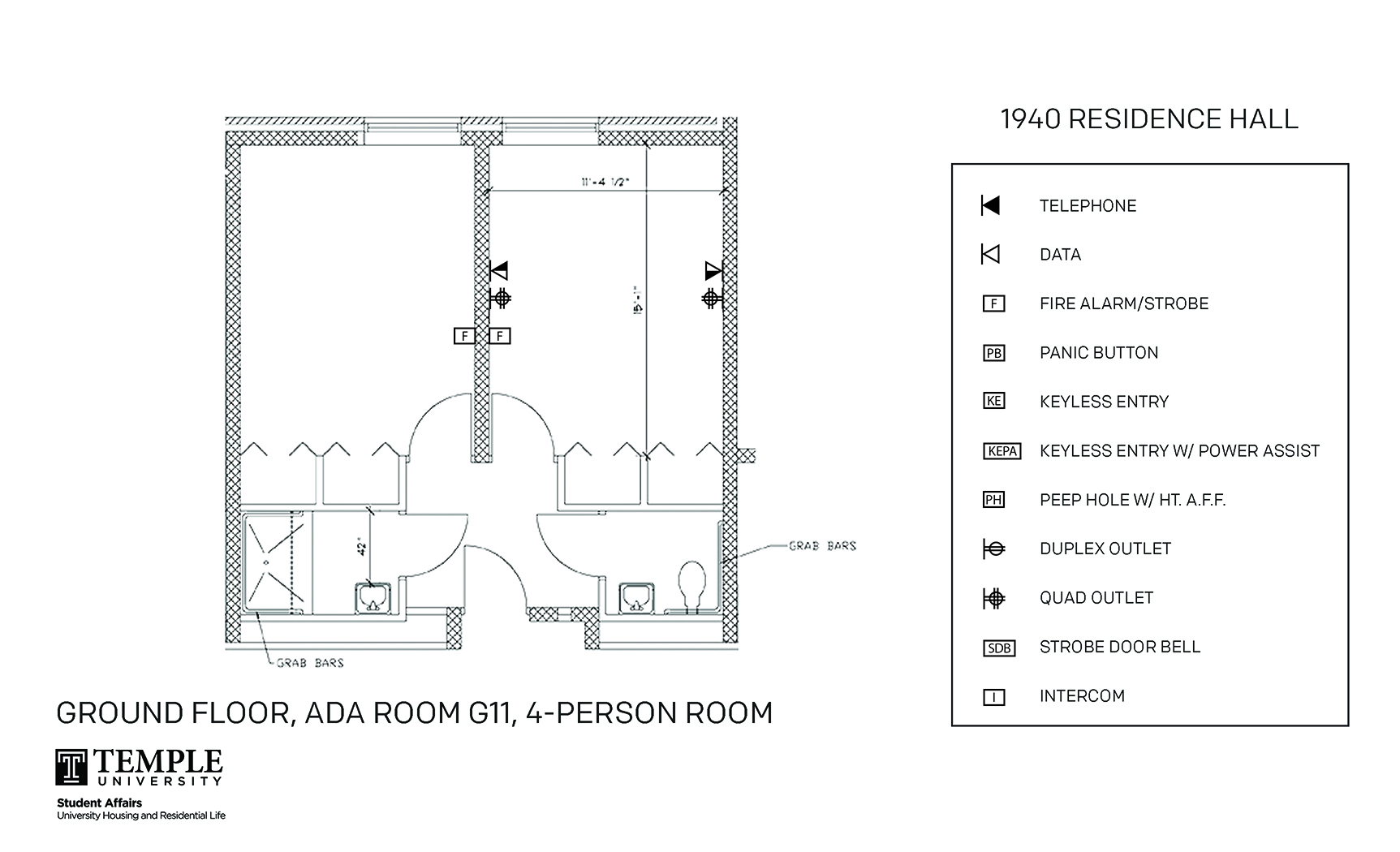 Accessible Room Diagrams: 4 person, 2 bedroom Suite - G11