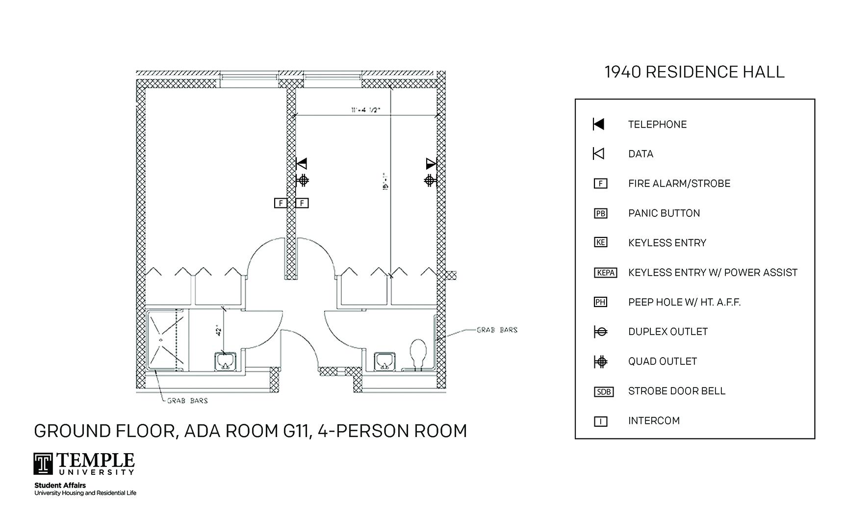 Accessible Room Diagrams: 4 person, 2 bedroom Suite - G11