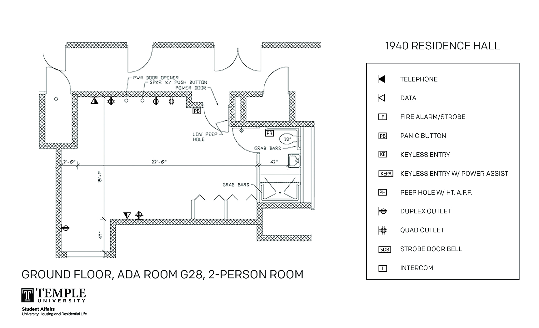 Accessible Room Diagrams: 2 person, 1 bedroom Suite - G28
