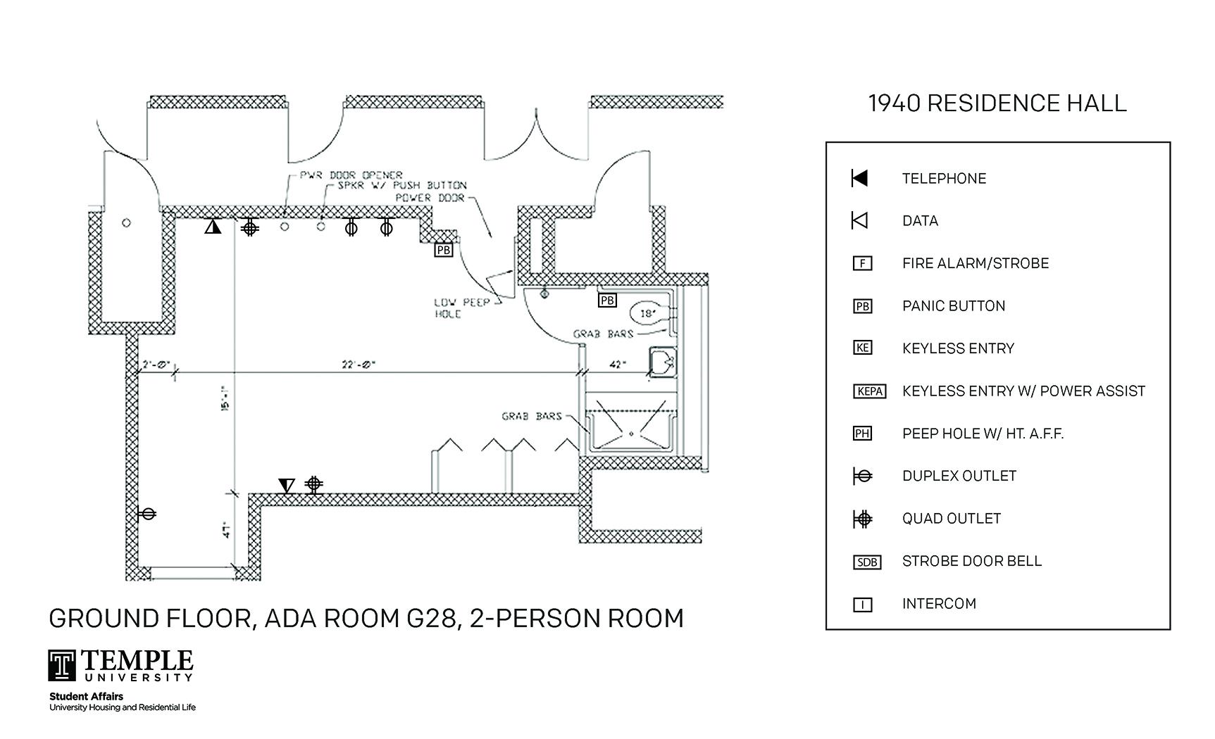 Accessible Room Diagrams: 2 person, 1 bedroom Suite - G28