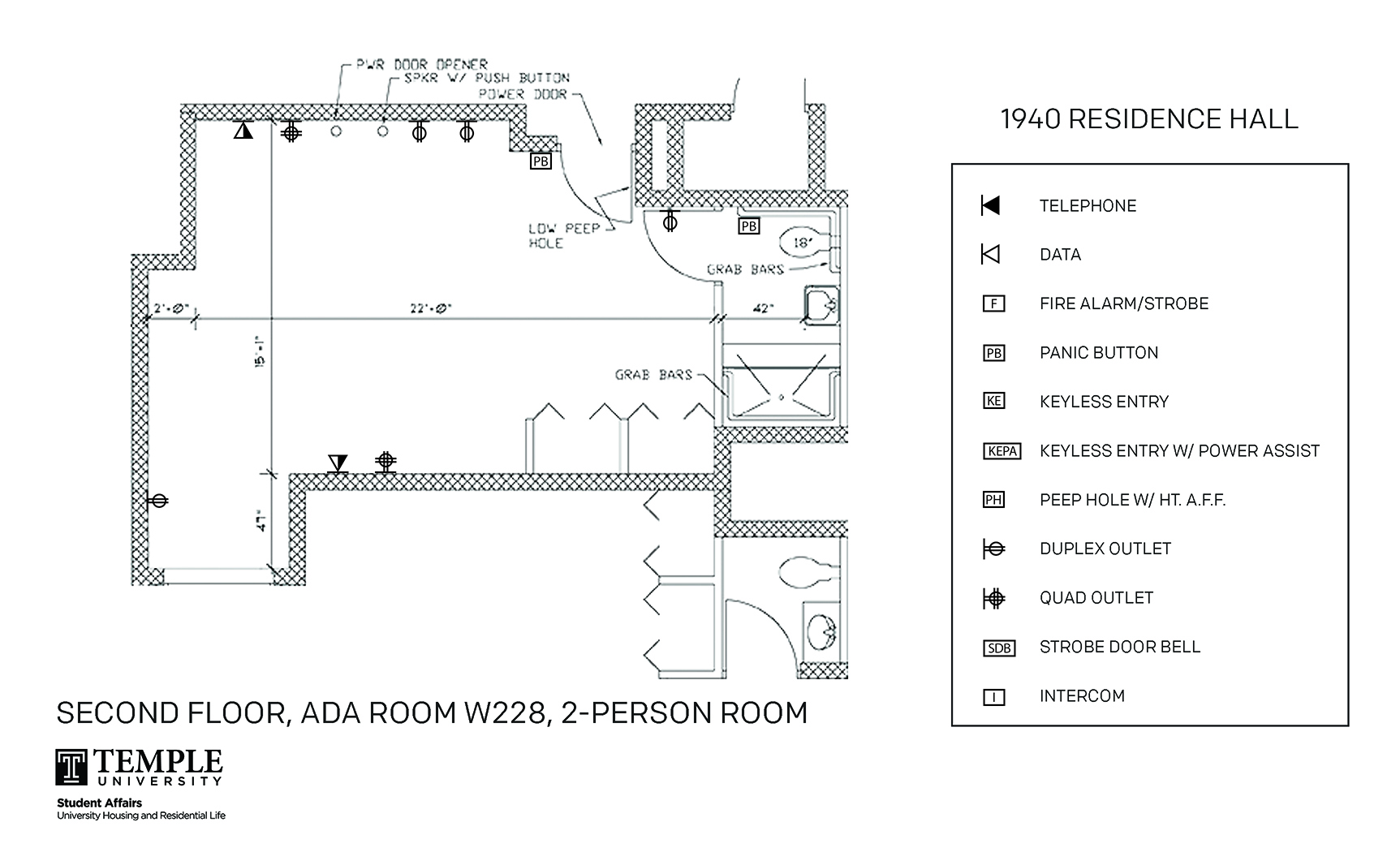 1940 Residence Hall University Housing And Residential Life Home Electrical Wiring Diagrams Accessible Room 2 Person 1 Bedroom Suite W228