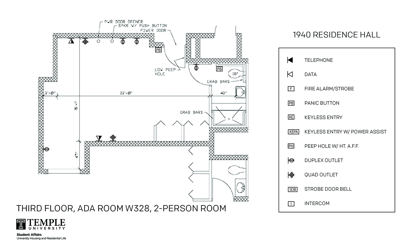 Accessible Room Diagrams: 2 person, 1 bedroom Suite - W328