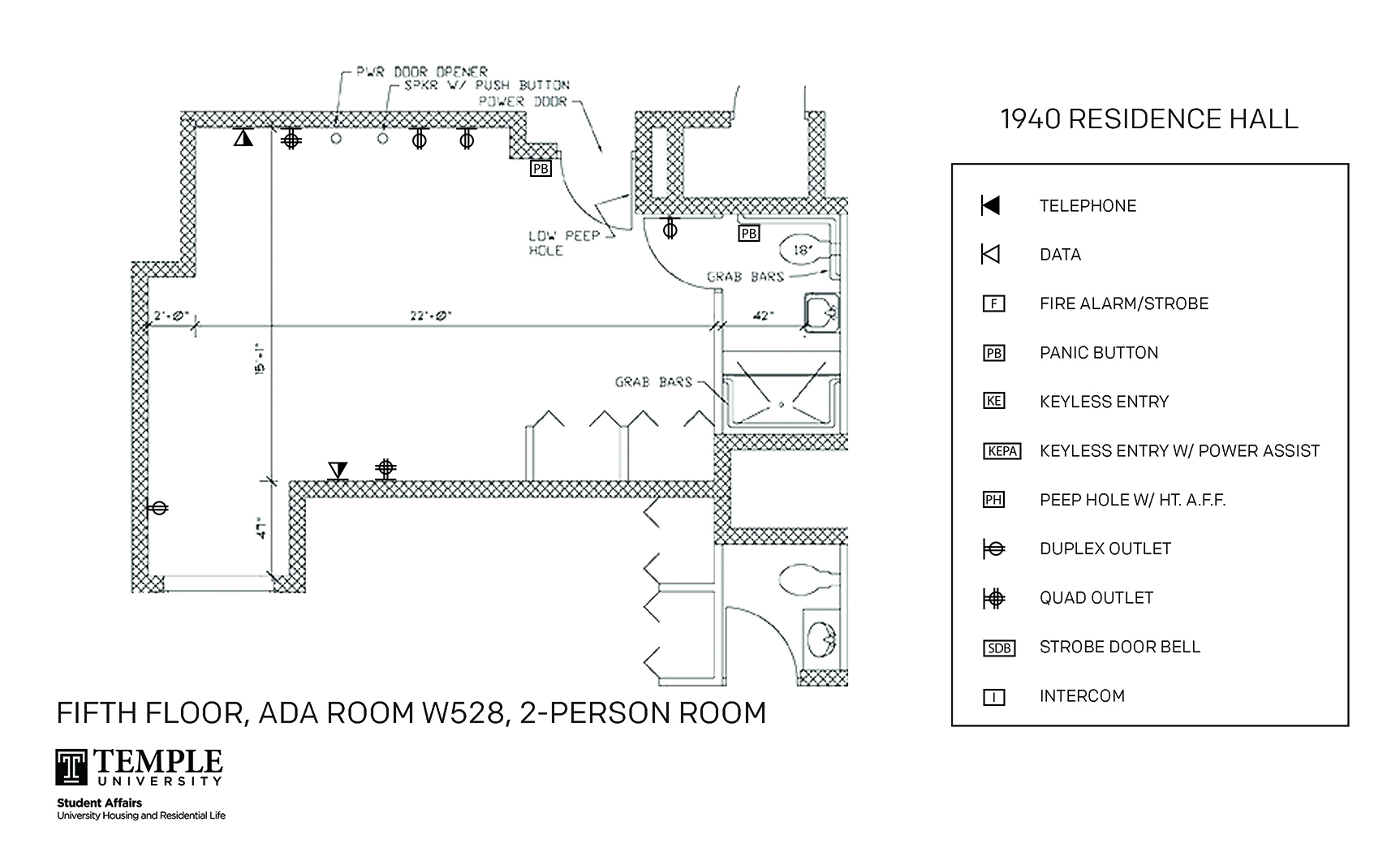 Accessible Room Diagrams: 2 person, 1 bedroom Suite - W528