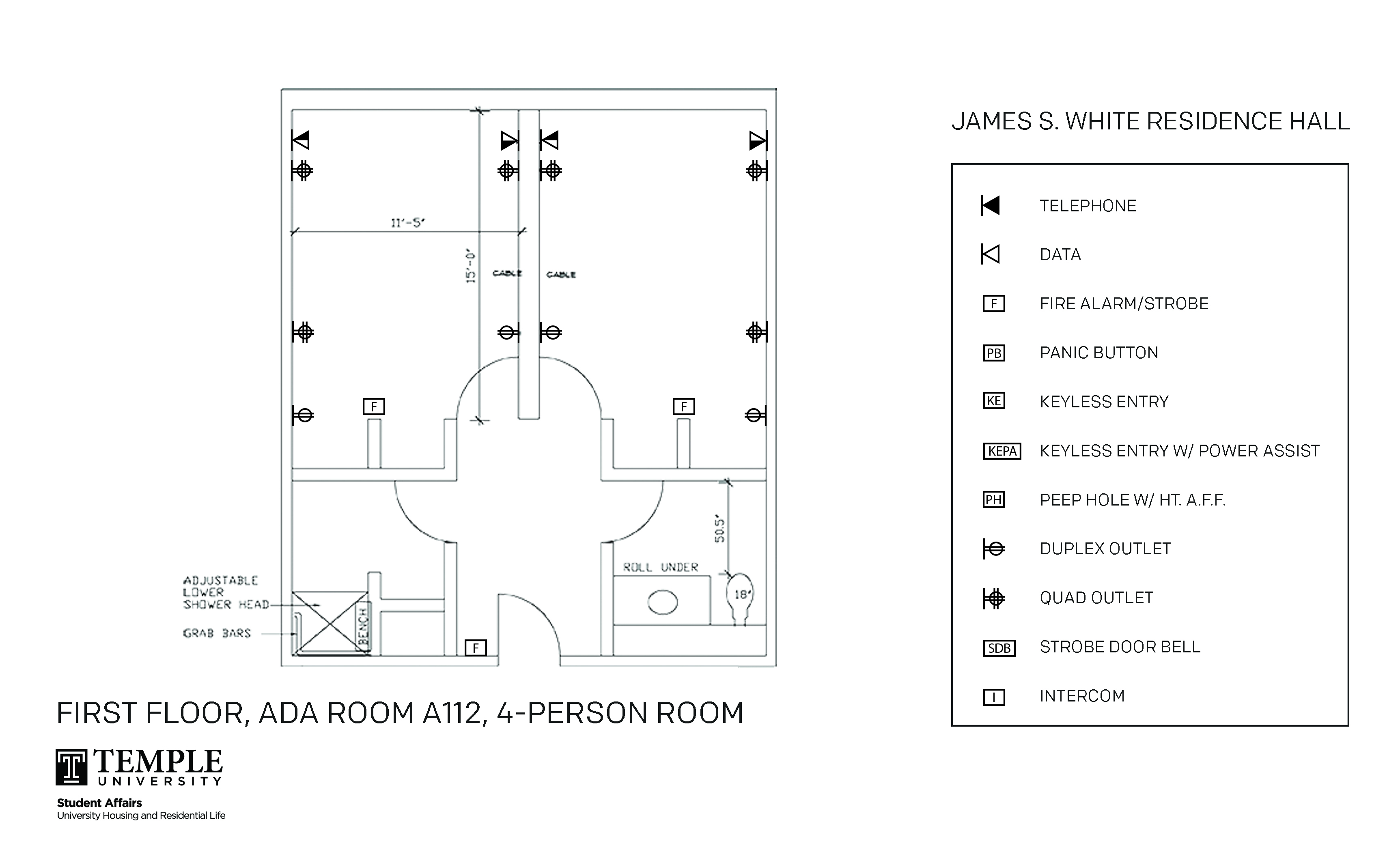 Accessible Room Diagrams: 4 person, 2 bedroom Suite - A112