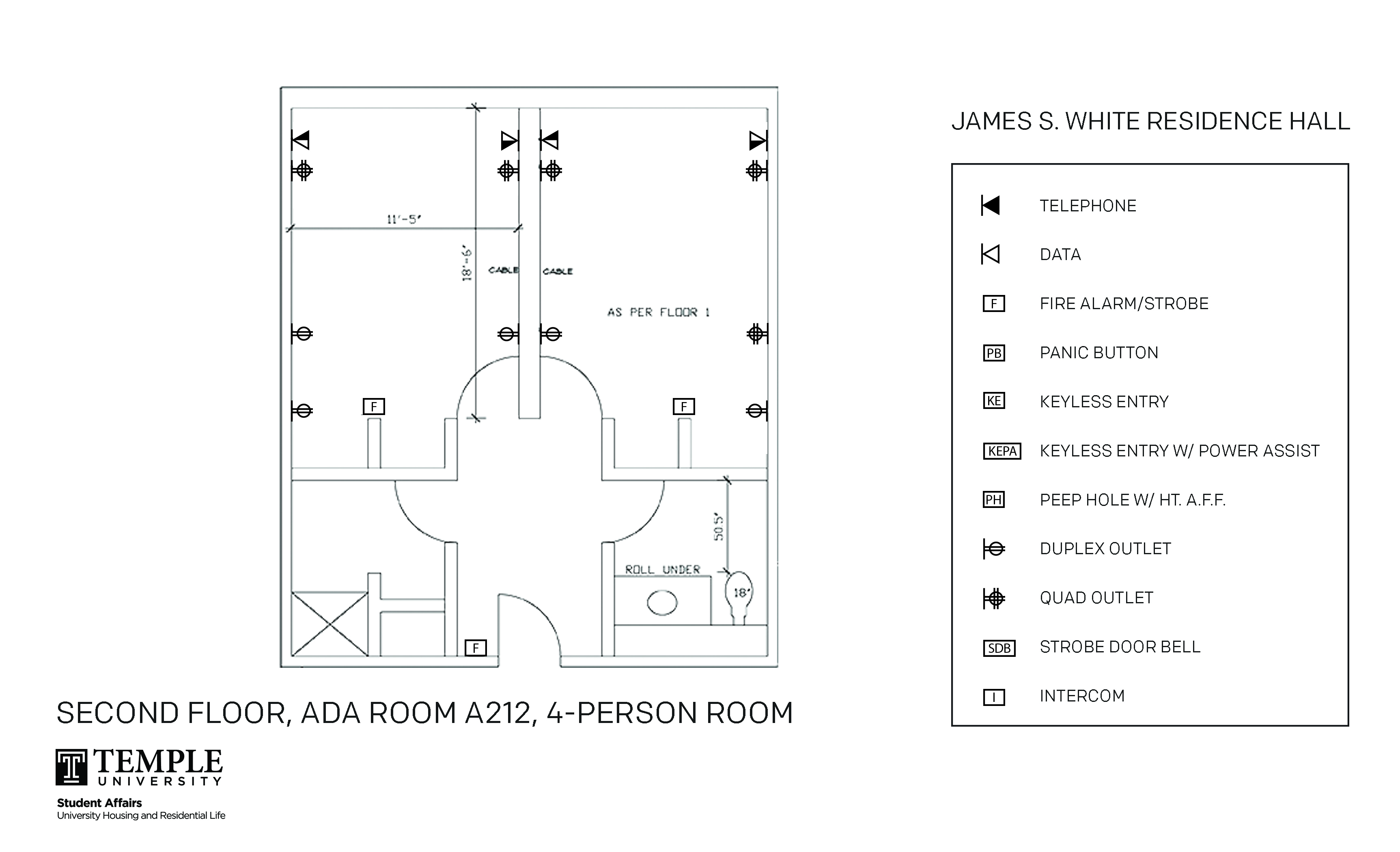 Accessible Room Diagrams: 4 person, 2 bedroom Suite - A212