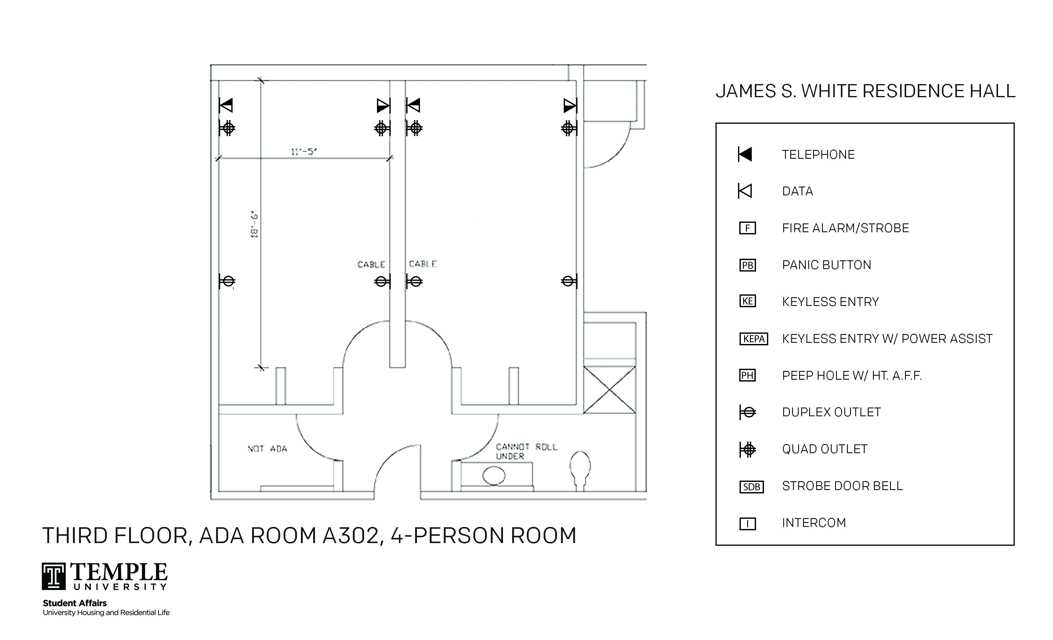 Accessible Room Diagrams: 4 person, 2 bedroom Suite - A302