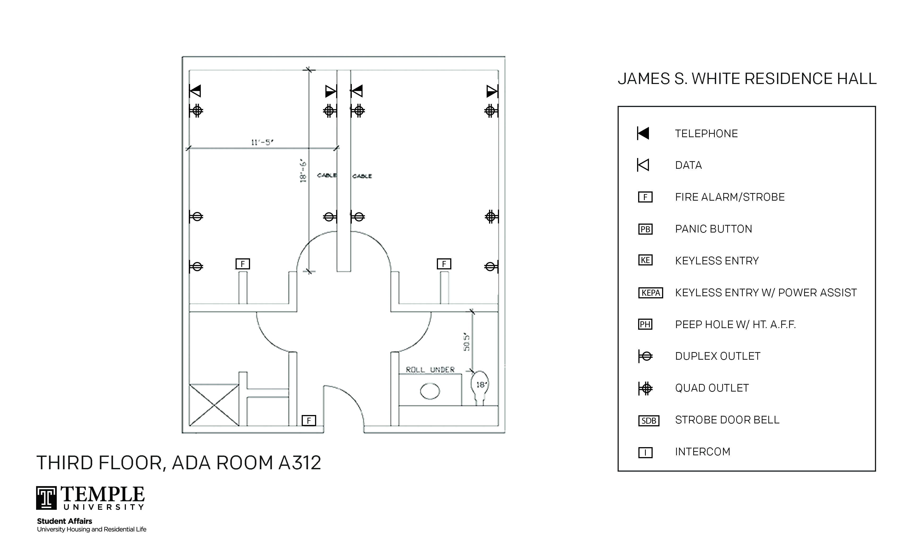 Accessible Room Diagrams: 4 person, 2 bedroom Suite - A312